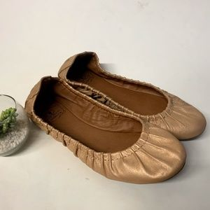 Lucky Brand Rose Gold Leather Erla Ballet Flats